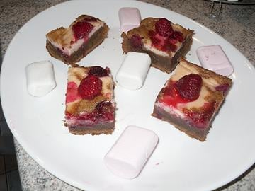 Brownie aux framboises et crème de Marshmallow