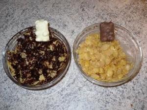 Préparation bouchées de céréales au chocolat et nounours