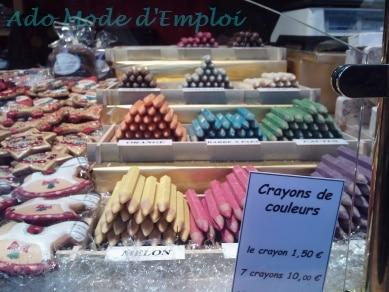 Crayons de couleur au chocolat Marché de Noël de Strasbourg