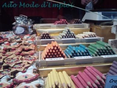 Crayons de couleur au chocolat Marché de Noël de Strasbourg 2