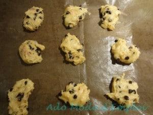 Préparation cookies au carambar nougat, pépites de chocolat et fruit confits