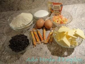 ingrédients cookies au carambar nougat, pépites de chocolat et fruit confits