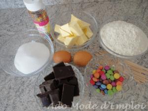 Ingrédients Sucettes cookies au chocolat et smarties