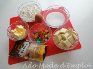 ingrédients sablés au chocolat blanc et dragibus