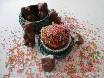 Muffins aux nounours guimauve et bounty