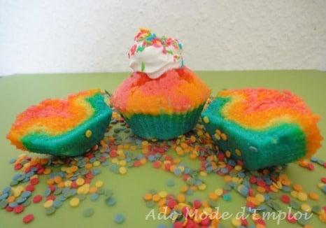 Cupcake arc en ciel ou Rainbow cupcake