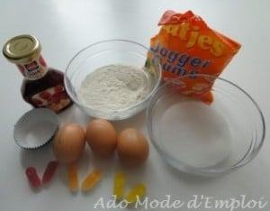 Ingrédients Cupcake tout violet décoré de petites baskets bonbons