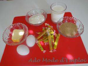 Ingrédients pour cannelés aux carambars