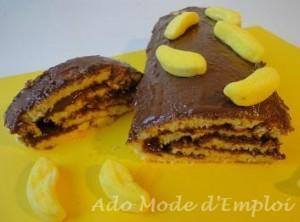 Roulé au chocolat praliné et bonbons bananes